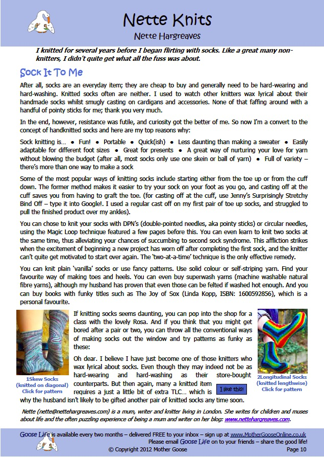 Sock It To Me (Goose Life – Jul/Aug 2012)