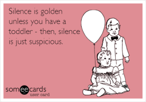 silence toddler postcard