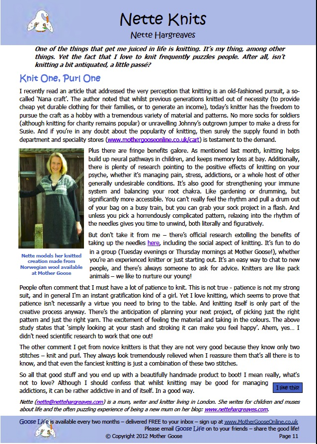 Knit One, Purl One (Goose Life – May/Jun 2012)